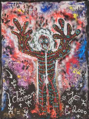 Le Chaman - Acrylique sur toile  200 X 150 cm