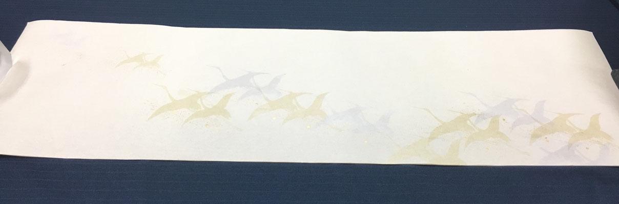 新鳥の子 30×100㎝ 群れ鶴
