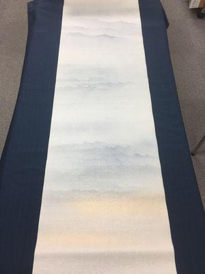 半切 No.24-6 中色染 雲海型ぼかし金カスミ グレー(天地入れ替え)