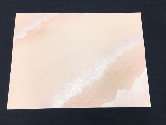 全懐紙 楮紙 染全面ギラ型打ち三色破り継風ボカシ銀砂子磨出し