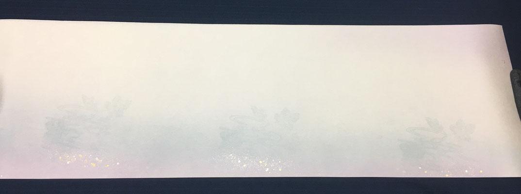 新鳥の子 30×100㎝ 両スミ2色ぼかし流葉紋様切箔砂子 1枚\2,000