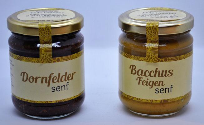 Bacchus Feigensenf und körniger Dornfelder Senf © Weingut Holstein - Wein aus der Pfalz