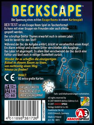 Deckscape: Spielschachtel Rückseite