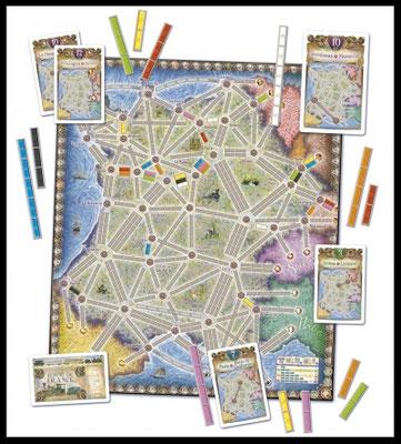 Zug um Zug - Frankreich: Spielplan und Material