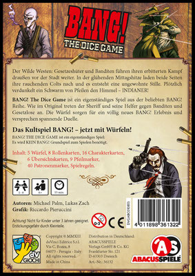 BANG! - The Dice Game: Schatelrückseite