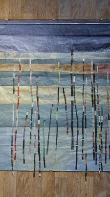 Staden i regn 3, rispapper och växtfärg, 70x90cm