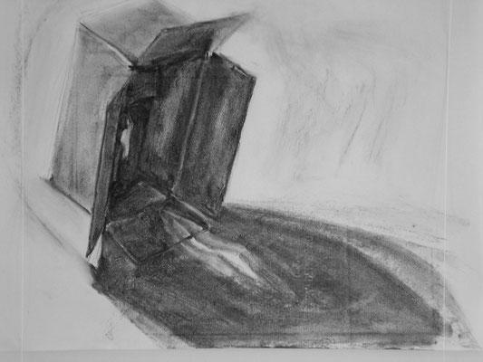 Lådan är inte bara lådan 5, kolteckning, 40x50cm