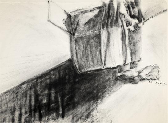 Lådan är inte bara lådan 6, kolteckning, 40x50cm