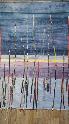 Staden i regn 1, rispapper och växtfärg, 70x90cm