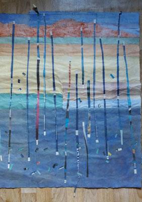 Staden i regn 4, rispapper och växtfärg, 70x90cm