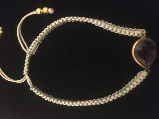 Armband mit Halbedelstein, m. Bändchen