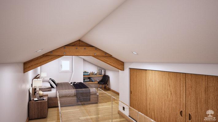 Amenagement 3D d'une chambre sous toiture
