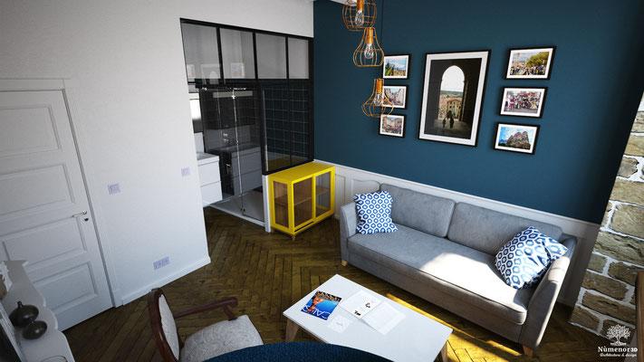 Aménagement d'un appartement sur le Puy en velay. ( projet 1 )  Logiciel: Archicad/Cinema4D/V-ray