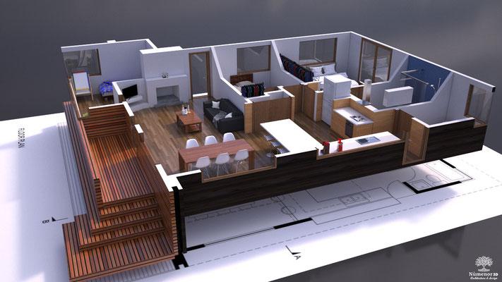 Plan de vente 3D ( projet personnel ).  Logiciel: Cinema4D