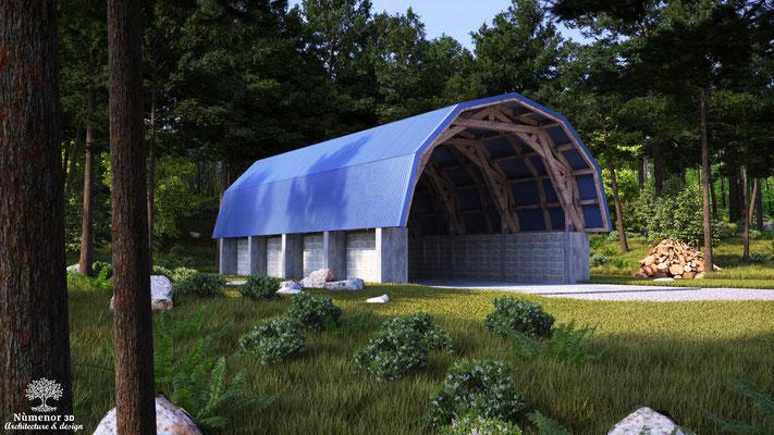 rendu 3d de type photoréaliste pour un design d'abris bois par Jacques boyer Architecte DENSAIS.  Logiciel: Archicad/Cinema4D/V-ray