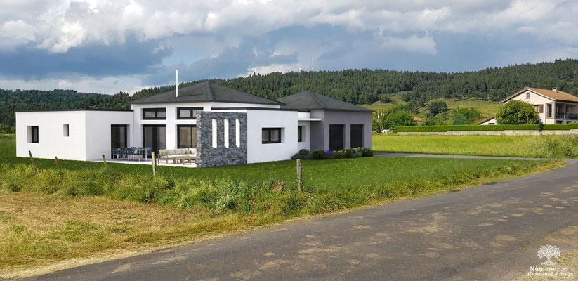 insertion paysagère pour une demande de permis de construire en Ardèche. Logiciel: Archicad/Cinema4D/V-ray
