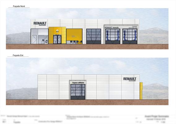 Colorisation de plan 2D pour le garage Renault à Langogne.  Logiciel: Archicad