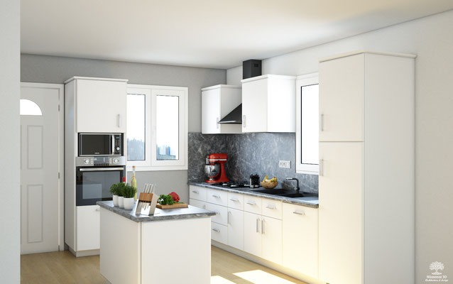 Proposition visuelle de rénovation d'une cuisine en Lozère