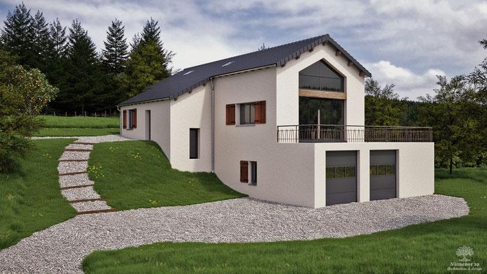 rendu 3d d'une maison d'habitation pour la demande d'un CU en Ardèche.  Logiciel: Archicad/Cinema4D/V-ray