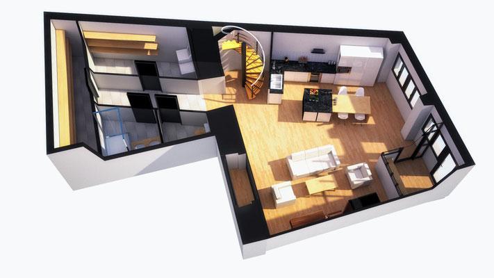 Plan de vente 3D d'un appartement au Puy en velay