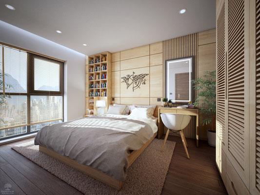 Visuel 3D d'une chambre avec habillage bois. logiciel Cinema4D/Vray
