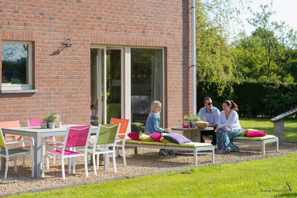 La Maison du Vivier, gîte 6 personnes à Durbuy - Terrasse pour apéro en famille ou entre amis