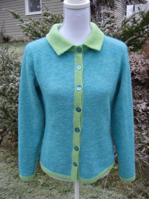 warm cardigan with visone mohair(stretch)