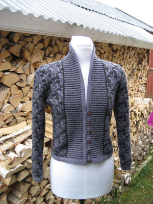 striped shawl collar