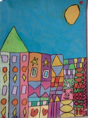 Buildings in the style if Paul Klee