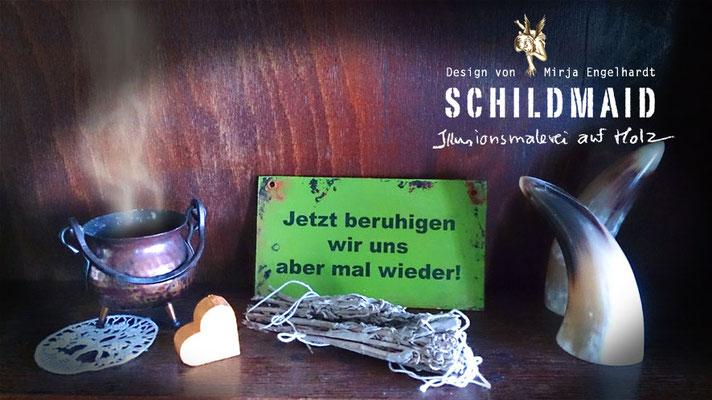 Schildmaid - Illusionsmalerei auf Holz/ Mural painting on wood