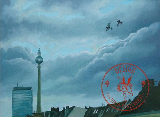 Himmel über Berlin - Wir leben alle unter dem gleichen Himmel, aber wir haben nicht alle den gleichen Horizont. - Konrad Adenauer; 40x30cm: Öl auf Leinwand; 2020