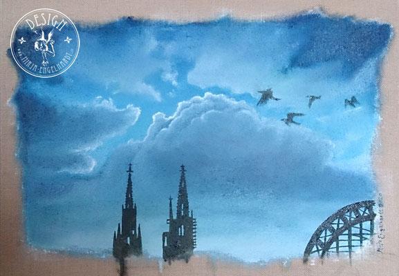 Himmel über Köln 2020 - Wir leben alle unter dem gleichen Himmel, aber wir haben nicht alle den gleichen Horizont. - Konrad Adenauer; 70x50cm; Öl auf Leinwand/ Oel on canvas; 2020