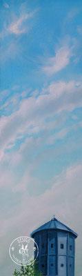 Gütersloher Wasserturm Wir leben alle unter dem gleichen Himmel, aber wir haben nicht alle den gleichen Horizont. - Konrad Adenauer ; 30x70cm;   Öl auf Leinwand/Oel on canvas; 2020