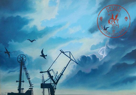 Himmel über Hamburg - Wir leben alle unter dem gleichen Himmel, aber wir haben nicht alle den gleichen Horizont. - Konrad Adenauer ; 100x70cm; Öl auf Leinwand/Oel on canvas; Kunde/Client: A. Simon; 2020