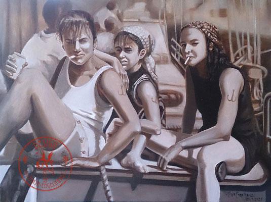 Piratinnen des Ijesselmeeres, 70x50cm; Öl auf Leinwand / Oel on canvas; 2021