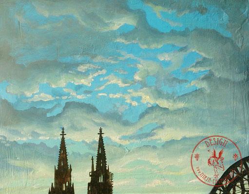 Himmel über Köln - Wir leben alle unter dem gleichen Himmel, aber wir haben nicht alle den gleichen Horizont. - Konrad Adenauer; 30x24cm; Öl auf Leinwand 2019