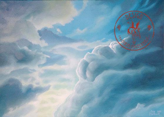 Wolken - Wir leben alle unter dem gleichen Himmel, aber wir haben nicht alle den gleichen Horizont. - Konrad Adenauer ; 70x50cm; Öl auf Leinwand/Oel on canvas; 2020