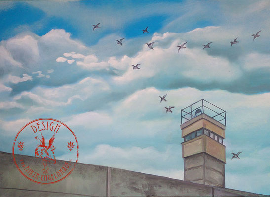 Berliner Mauer - Wir leben alle unter dem gleichen Himmel, aber wir haben nicht alle den gleichen Horizont. - Konrad Adenauer ; 70x50cm; Öl auf Leinwand/Oel on canvas; 2020