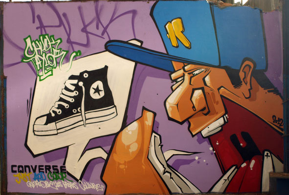 """CONVERSE """"Just Add Color"""" campain - JEAN ROOBLE - Spraypaint on wall (3 x 4 m) - Bordeaux, 2012"""