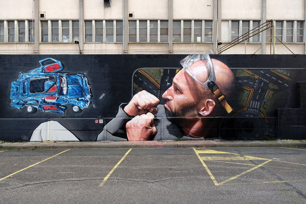 ABOUT A CRUSH - Jean Rooble feat. Landroïd - Spraypaint on wall - 3,5 x 12 m - 1000m2, Bègles (2021)