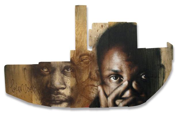BIENVENUE! - Jean Rooble (original pics by Dans L'Oeil de Ken) - Spraypaint on wood - 180 x 350 cm (2019)