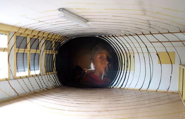 Rémi - JEAN ROOBLE - Spraypaint on wall (2,80 x  9m) - Projet BACK TO SCHOOL - Talence (2015)