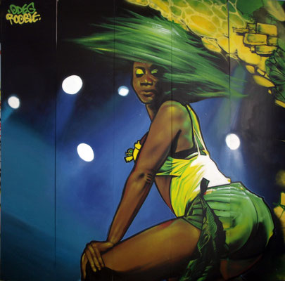 Detail - JEAN ROOBLE for REGGAE SUN SKA Festival -Spraypaint on PVC (3 x 3 m) - Bordeaux, 2014