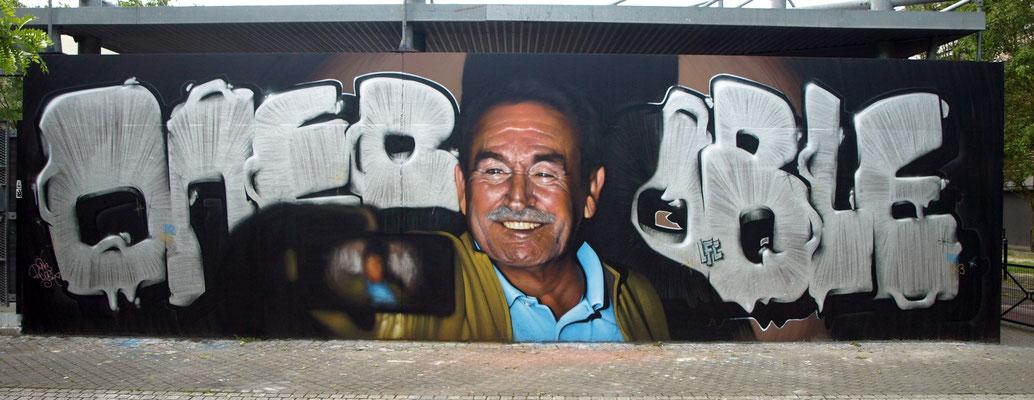 Dad's Selfie - JEAN ROOBLE - Spraypaint on wall (3 x 11 m) - Le MUR de Bordeaux - Bordeaux, 2018