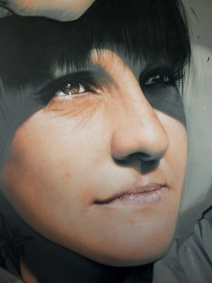 GOOD MORNING! (detail) - Jean Rooble - Spraypaint on wall - 2,50 x 6 m - Gîtes de Larros, Gujan-Mestras (2020)