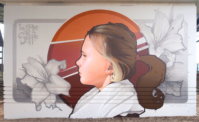 LILY'S THEME - Jean Rooble - Spraypaint on wall - 5 x 8 m - Le Mur du Souffle, Bruges (2021)