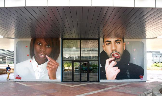 MR. Egue & Ms. Valdemar - JEAN ROOBLE - Spraypaint on wall (2 x 5 x 5,5 m) - Conseil Départemental de la Gironde - Bordeaux, 2017/18