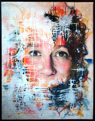 GABRIELA - Gabriela Meunié & Jean Rooble - Mixed media on modled resin (by Dominique Capblanne) - 140 x 120 cm (2014) - Disponible / Available