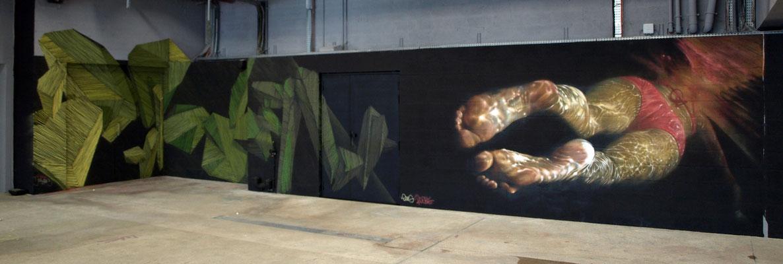 Underwater - ODEG & JEAN ROOBLE - Spraypaint on wall (2,5 x 12 m) - Wall On Fire Project - Cité de la Mode et du Design - Paris (2016)