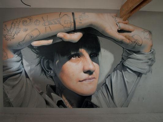 GOOD MORNING! - Jean Rooble - Spraypaint on wall - 2,50 x 6 m - Gîtes de Larros, Gujan-Mestras (2020)